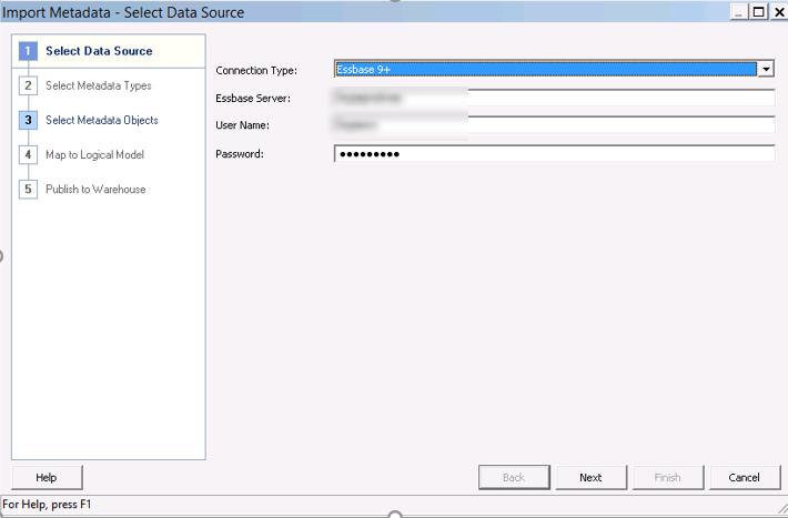 Essbase metadata import