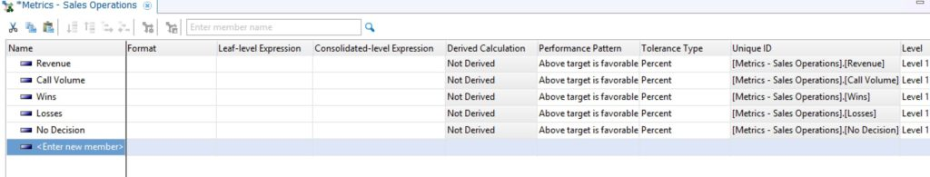 Importing a metric dimension in IBM Planning Analytics