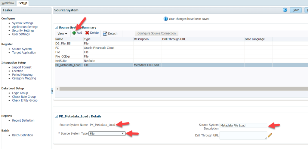How to create a new source system in the Setup tab in Oracle PBCS