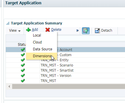 How to add a dimension in Target Application in Oracle PBCS