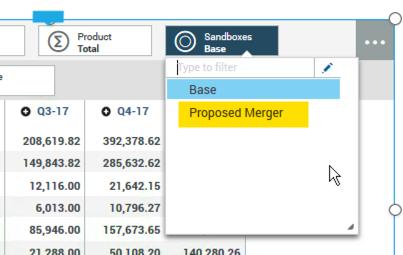 Sandboxes dimension box in IBM Planning Analytics