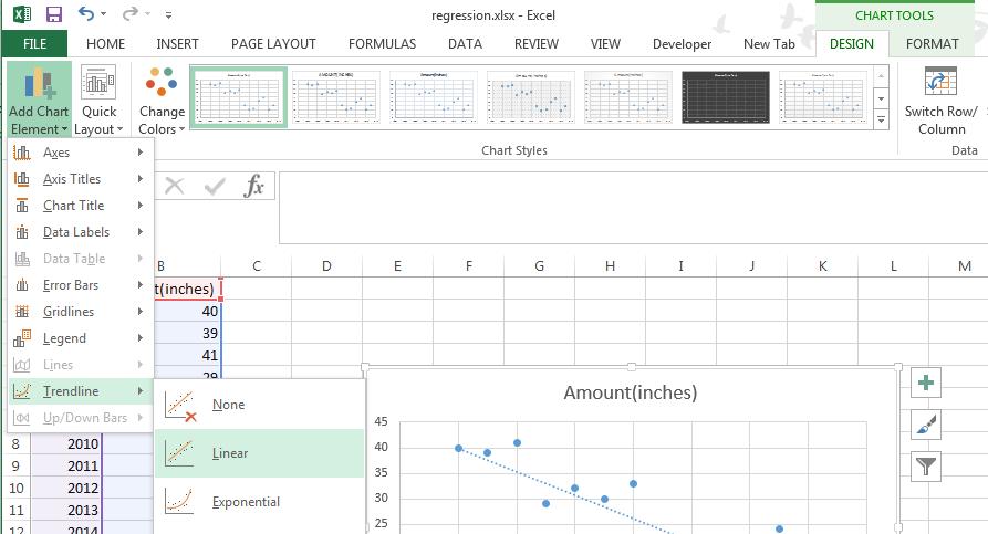 Regression analysis in Excel - linear trendline