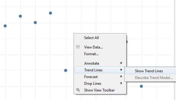 Regression analysis in Tableau - show trendlines